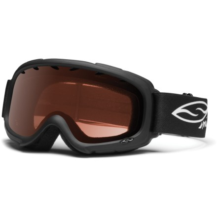 Ski Versatile and eyewear-compatible, the Smith Gambler Black kids' snow goggles supply great all-around performance for young powderhounds. Active ventilation system stops fog by evacuating moist air from inside the goggles. Dual-lens design bonds an outer and inner lens together with spacer foam between to create a thermal barrier that helps keep the inner lens warm and dry. Fog-X(TM) antifog treatment is bonded permanently to the inner lens for optimum fog-free vision. Self-adjusting split ''V'' nose piece and adjustable dual-slide strap provides comfortable fit over the face and around the head. RC36 lens tint combines rose and copper base tints to optimize vision in a variety of conditions. Foam membrane inside goggles reduces pressure from eyeglasses at the temples. Smith Gambler Black kids' snow goggles block 100% of the sun's UVA, UVB and UVC rays. - $30.00