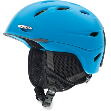 Ski Featuring the Boa(R) fit system, the men's Smith Transport snow helmet helps shield you from cold air and hard falls. Sports lightweight construction and dapper good looks. Hybrid Shell Technology fuses polycarbonate and ABS plastic shells, creating superior protection and modern styling. Ventilation system maximizes airflow to reduce performance-inhibiting fog in your goggles. Airflow travels from goggles, through internal channels in the foam and out through 16 external vents. Sliding tab opens and closes vents in helmet; vents are easy to adjust, even with gloves on. Boa lacing replaces traditional helmet fit systems to provide an even fit without pressure points. With a simple twist of the knob, Boa retracts loose cable and dials in a quick, secure closure. Removable strap on the back secures goggles to the helmet. Performance lining inhibits odor retention, regulates temperature and minimizes static; antimicrobial silver ion treatment is permanently bonded so it will not wear off. Minimalist, lightweight Snapfit ear pads are soft and comfortable; remove the pads on warm days or to wash. Smith Transport snow helmet is compatible with Skullcandy(TM) Bluetooth(R) Audio Drop Ins, Direct Connect, and Single Shot audio systems, sold separately. This snow helmet complies with ASTM F 2040 and/or CE EN 1077 alpine ski and snowboard helmet safety standards; for additional information please see REI expert advice. - $130.00