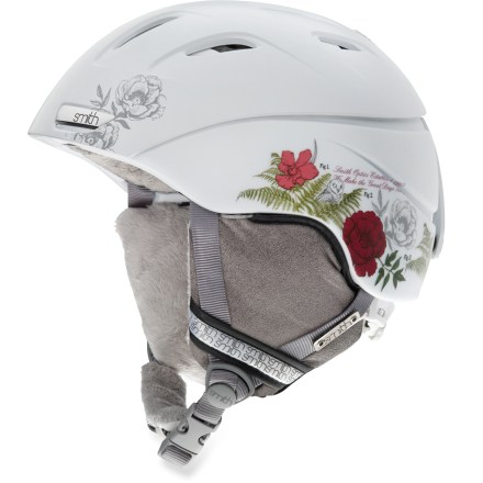 Ski The Smith Intrigue snow helmet with Boa(R) fit system offers essential protection and classy good looks. Hybrid shell fuses polycarbonate and ABS plastic, creating superior protection with minimal weight. Ventilation system maximizes airflow to reduce performance-inhibiting goggles fogging. Airflow travels from goggles, through internal channels in the foam and out through 10 external vents. Sliding tab opens and closes vents in helmet; vents are easy to adjust, even with gloves on. Boa lacing replaces traditional helmet fit systems to provide an even fit without pressure points. With a simple twist of the knob, Boa retracts loose cable and dials in a quick, secure closure. Removable strap on the back of helmet secures goggles to the helmet. Plush, furry tricot lining provides excellent warmth and comfort. Minimalist, lightweight Snapfit ear pads are soft and comfortable; remove the pads on warm days or to wash. Smith Intrigue snow helmet is compatible with Skullcandy(TM) Bluetooth(R) Audio Drop Ins, Direct Connect, and Single Shot audio systems, sold separately. This snow helmet complies with ASTM F 2040 and/or CE EN 1077 alpine ski and snowboard helmet safety standards; for additional information please see REI expert advice. - $150.00