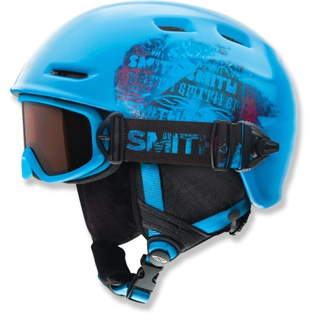 Ski Featuring magnets that make it easy to attach goggles and keep track of them, the boys' Cosmos Jr. snow helmet and Galaxy snow goggles help protect your little skier with and high performance. Goggle strap fits securely into small notch on side of helmet; magnets automatically help bring the goggles strap into connection with the locking notch. To detach goggles, simply slide goggle strap out of helmet notch. Cosmos Jr. snow helmet features in-mold construction that bonds the liner directly to the shell to create durable strength and light weight. Airflow travels from goggles, through internal channels in the foam and out through external vents. Helmet fit system ensures easy operation and a correct fit thanks to an intuitive pinch/pull design with 3 attachment points. Fleece tricot helmet lining offers excellent insulation and a soft feel. Galaxy snow goggles feature double lenses that help prevent fogging by creating an insulation barrier between cold outer air and warm air inside the goggles. Antifog treatment is bonded permanently to the inner lens for optimum fog-free vision. Hypoallergenic face foam creates a comfortable fit without pinching. RC36 lens tint combines rose and copper base tints to optimize vision in a variety of conditions; allows 36 percent visible light transmission. - $80.00