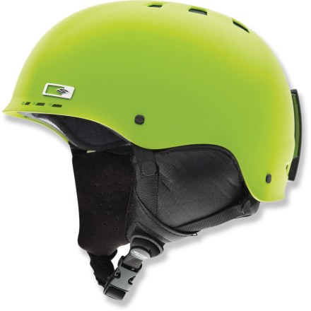 Ski Sized for for pint-size skiers and boarders, the Smith Holt Jr. snow helmet delivers the same trusted protection as the adult model. Venting design maximizes airflow to reduce performance-inhibiting goggles fogging. Ear pads provide comfortable, ergonomic coverage; the pads remove easily for regulating temperature and for washing. Clip on back secures goggles to the helmet. Fit system personalizes the snugness of helmet using an adjustable headband. Convertible Pad Kit (included) lets you remove the insulation and switch out the pads, making the Smith Holt Jr. helmet suitable for skateboarding and inline skating. This snow helmet complies with ASTM F 2040 and/or CE EN 1077 alpine ski and snowboard helmet safety standards; for additional information please see REI expert advice. - $60.00