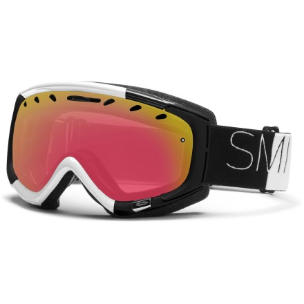 Ski Packed with tech, the Smith Phenom Asian Fit snow goggles offer classic styling and a tuned fit for great visual acuity and comfort throughout the season. Carbonic-X(TM) outer lens is molded to offer optimum scratch resistance, increased visual acuity and enhanced contrast sensitivity. Lens tapers from optical center toward the periphery and allows light rays to pass through without refraction. This tapered lens shape provides distortion-free vision for the most accurate interpretation of the terrain that lies ahead. Microporous filter attached to the lens increases fog resistance by allowing air molecules to pass through while blocking water molecules. Patented technology bonds the inner and outer lenses together with a silicone bead to eliminate lens delamination. Sliding bar on the top of the lens controls airflow and increases ventilation. Dual-layer face foam is compression molded to seal out the elements and maximize comfort; fleece lining is comfortable against skin. Articulating Outrigger Positioning System transfers pressure evenly across the brow and nose to create a complete seal around the face. Outrigger's strap articulation provides a comfortable, consistent goggles fit even in use with a helmet. Extra-wide adjustable strap is backed with silicone grippers and comes with a clip buckle for easy on/off, even over a ski hat. Red Sensor Mirror lens uses a light rose base tint to maximize color definition and increase depth perception in flat light; 60% visible light transmission. Includes microfiber storage bag to protect lens. The Smith Phenom snow goggles are a medium-volume design that fits medium-size faces. Asian Fit goggles have face foam shaped to offer a good seal around the nose and cheeks for those with low-profile nose bridges and flat facial features. - $65.83