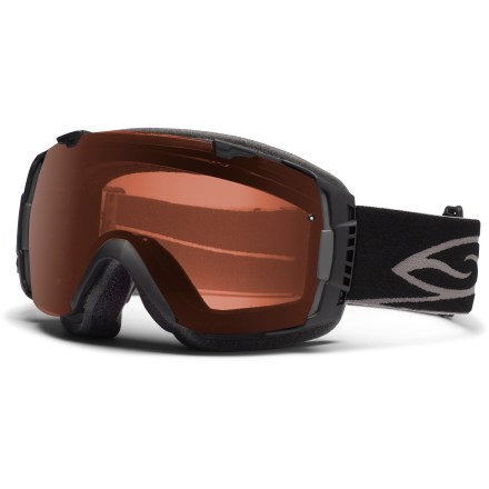 Ski Smith I/O Polarized snow goggles use an easy lens-changing system to let you adapt to changing light conditions, offering a polarized lens for excellent visual acuity. With the flip of a switch, the helmet-compatible Smith I/O Polarized goggles can change lenses to optimize performance in all conditions. Smith Spherical(TM) series lenses allow a wide field of vision and increased volume that maximizes airflow and reduces fogging. Carbonic-X(TM) lens is molded to offer optimum scratch resistance, increased visual acuity and enhanced contrast sensitivity. Lens tapers from optical center toward the periphery and allows light rays to pass through without refraction. This tapered lens shape provides distortion-free vision for the most accurate interpretation of the terrain that lies ahead. Microporous filter attached to the outer lens increases fog resistance by automatically adjusting to elevation changes, allowing air to pass through while blocking moisture. Patented technology bonds the inner and outer lenses to prevent moisture from entering lenses while letting them breathe; 5x Anti-Fog inner lens offers superb fog protection. 3-layer face foam has a dense base to reduce hot spots, a plush middle layer and a soft fleece top layer to ensure a tight seal, manage moisture and maximize comfort. Extra-wide adjustable strap is backed with silicone grippers and comes with a clip buckle for easy on/off, even over a ski hat or helmet. Chrome frame color comes with Polarized Rose Copper lens (rose copper tint, 25% visible light transmission (VLT)) and unpolarized Sensor Mirror lens (light rose tint, 70% VLT). Polarized lens significantly cuts down on glare to help reduce eye fatigue and increase visual acuity, filtering out visual noise and cut through haze. Includes a microfiber storage bag with replacement lens sleeve. - $235.00