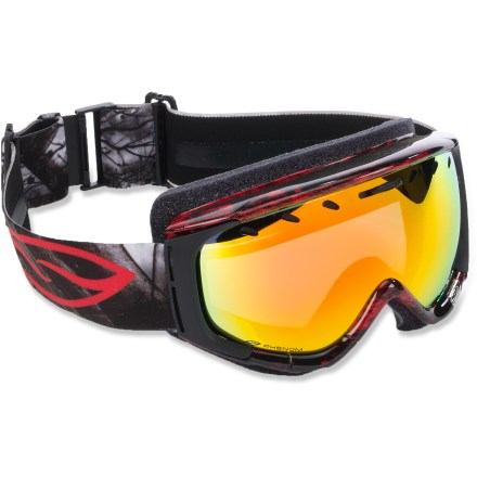 Ski Offering a great fit and superb clarity, the Smith Phenom snow goggles are sure to be the go-to optics for the best days on the mountain. Carbonic-X(TM) outer lens is molded to offer optimum scratch resistance, increased visual acuity and enhanced contrast sensitivity. Lens tapers from optical center toward the periphery and allows light rays to pass through without refraction. This tapered lens shape provides distortion-free vision for the most accurate interpretation of the terrain that lies ahead. Microporous filter attached to the lens increases fog resistance by allowing air molecules to pass through while blocking water molecules. Patented technology bonds the inner and outer lenses together with a silicone bead to eliminate lens delamination. Sliding bar on the top of the lens controls airflow and increases ventilation. Dual-layer face foam is compression molded to seal out the elements and maximize comfort; fleece lining is comfortable against skin. Articulating Outrigger Positioning System puts pressure evenly across the brow and nose to create a complete seal and provide a comfortable, consistent fit, even with a helmet. Extra-wide adjustable strap is backed with silicone grippers and comes with a clip buckle for easy on/off, even over a ski hat. Red Sol-X Mirror lens uses a dark sienna brown tint to cut down on glare and reduce eye strain in bright, sunny conditions; allows 17% visible light transmission. Includes microfiber storage bag to protect lens. The Smith Phenom snow goggles are a medium-volume design that fits medium-sized faces. - $65.83
