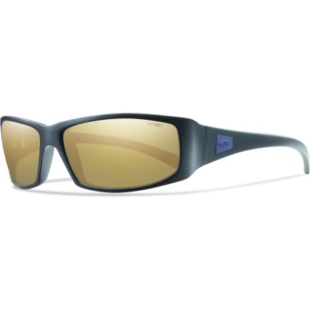 Entertainment The Smith Proof polarized sunglasses offer easy-going wearability and style that's sure to please. Polarized lenses reduce 99% of visible glare from water, snow, sand and pavement for increased visual acuity and decreased eye strain. Carbonic TLT lenses provide 100% UVA/B/C protection and incorporate Smith Tapered Lens Technology(TM) to optimize viewing clarity. Tapered Lens Technology contours the thickness of the lens so that light travels through without distortion. 8 base-curve lens: the higher the number the more curved the lens-Smith features sunglasses with 6, 7, 8 and 9 base curvature. Frames are made from bio-plastic Rilsan(R) Clear (derived from non-GMO castor seeds) for a resilient, consistent fit. Polar gold mirror lenses are made for bright days, offering 12% visible light transmission (VLT). Lightweight frames have a medium fit with medium coverage. Smith Proof polarized sunglasses include a storage bag. Closeout. - $58.93