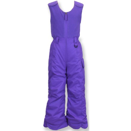 Ski The Snow Dragons Bailey girls' snow bibs keep your snowy princess excited about getting out into the elements to play. Woven polyester pants feature a waterproof, breathable coating and 120g synthetic insulation to keep her toasty and dry. Cozy microfleece upper with a stretch fit rear gusset lets her bend and twist with ease. Grow Cuffs let you extend the leg lengths by 1.5 in. as your child grows. Reinforced seat and knees boost durability in key areas. Internal gaiters help keep snow out of her boots. Broad, rip-and-stick shoulder straps customize the fit and keep Snow Dragons Bailey bibs in place. Side cargo pocket on pants stashes a few small items. D-ring at waist keeps her ski pass handy. Closeout. - $28.83