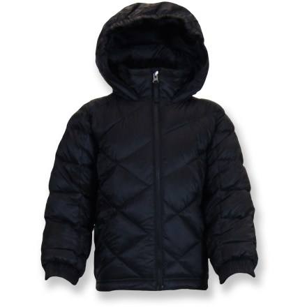 Snowboard Stomp out the cold in the Snow Dragons Stomp jacket for toddlers and boys-plenty of warmth to keep him cozy on the bunny slope and beyond. Mini-ripstop polyester features a waterproof, breathable coating to fend off rain and snow. Synthetic insulation throughout body, hood, sleeves and collar boost warmth. Hood has an elastic brim that snugs down around his face. Interior pockets stow goggles and a media player. D-ring keeps his ski pass handy. Drawcord hem and elastic cuffs seal out cold air. Grow Cuffs extend sleeves up to 1.5 in. to accommodate a growing child. Snow Dragons Stomp jacket features zippered hand pockets. Closeout. - $47.83