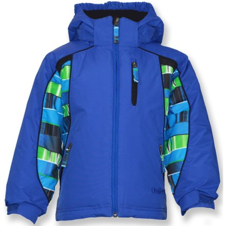 Snowboard The bright, fun Snow Dragons Logan jacket boasts plenty of winter-friendly features he requires when headed to the ski hill. Windproof polyester shell fabric features a waterproof, breathable coating to keep the elements out. Synthetic insulation keeps your young one toasty through the winter. Zip-off hood adds warmth at a moment's notice. Grow Cuffs extend the sleeves by 1.5 in. to accommodate a growing child. Zippered hand pockets and chest pocket; interior goggle and MP3 player pockets. Special buy. - $51.73