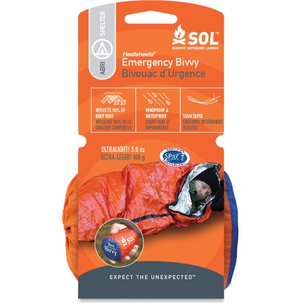 Camp and Hike Don't get left out in the cold. The SOL Emergency bivy reflects up to 90% of your body's heat back to you. - $16.95
