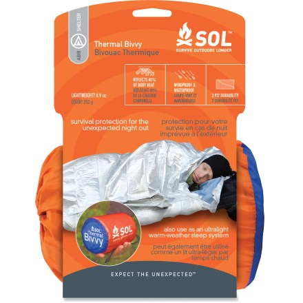 Camp and Hike The SOL Thermal bivy can be used as substitute for a sleeping bag on warm-weather adventures or as an emergency survival bivy for wintertime activities. - $29.95