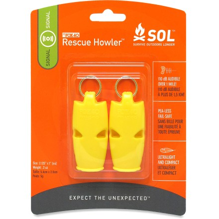 Camp and Hike Be sure you're heard with the extremely loud SOL Rescue Howler(TM) whistle. - $8.95