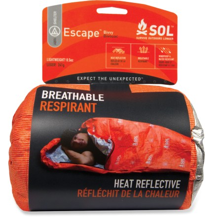Camp and Hike Some emergency bivy sacks get so wet inside from condensation that they leave you soaking. Not so with the water-resistant, breathable SOL Escape bivy. - $60.00
