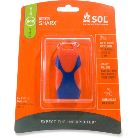 Camp and Hike The SOL Sharx(TM) whistle emits a powerful 120 decibel dual-frequency signal that will get the attention of other hikers in the area. Pea-less whistle won't freeze up in cold weather. SOL Sharx whistle is made from durable ABS plastic with rubber inserts for good grip. - $6.93