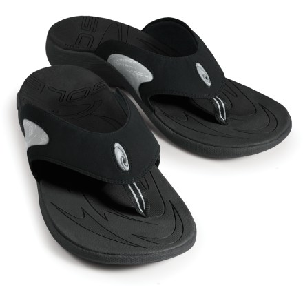 Entertainment SOLE Sport flip-flops keep feet happy. These flip-flops mold to your feet for all-day comfort. Synthetic nubuck leather straps are shaped to follow the contours of men's feet, providing a wonderfully comfortable and secure fit. Nylon strap linings dry quickly and help wick moisture away. Moldable EVA topsoles conform to the contours of your feet over time, delivering a custom fit. Metatarsal support pads, arch supports, and deep heel cups combine to provide excellent support and alignment underfoot. High-density EVA midsoles absorb shock, cushion feet and provide gentle support; structures in midsoles help maintain support once footbeds have conformed to feet. Outsoles have long-lasting synthetic rubber in the high-wear areas under forefeet and heels; natural rubber is used on the rest of the outsoles. Proudly carries the Seal of Acceptance from the American Podiatric Medical Association. All-synthetic construction makes these vegan-friendly. Closeout. - $20.73