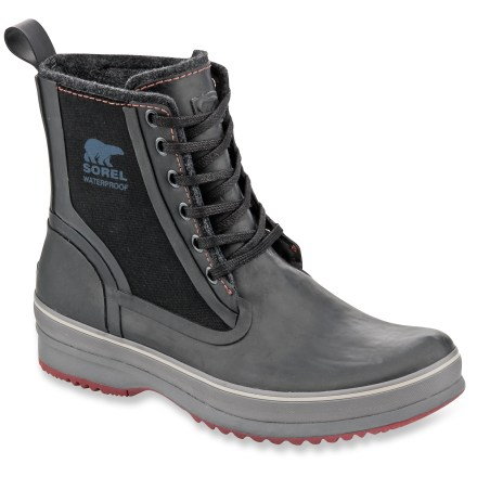 Sorel Woodbine High CVS boots mix smart looks with performance, thanks to waterproof construction. Waterproof vulcanized rubber uppers with canvas overlays are supple and protective; large dual gores and heel loops make boots easy to put on and take off. Polyester felt linings supply non-bulky warmth and comfort even when damp. Drop-in EVA insoles act as the midsoles to absorb shock, cushion feet and provide gentle support. Fiberglass plates ensure stability and lightweight support. Sorel Woodbine High CVS boots feature molded rubber outsoles with multidirectional lugs that deliver solid traction on wet and dry surfaces. - $66.83