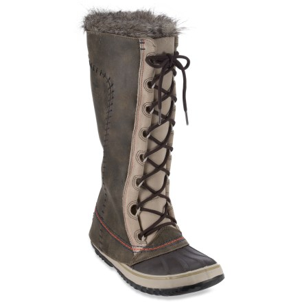 With savvy style and winter-ready performance, the Sorel Cate The Great Deco winter boots boast waterproof protection and warm linings for all-around comfort. Flexible and long-lasting full-grain and suede leather uppers are seam sealed and waterproofed for excellent protection from the elements. Faux fur collars add style and wrap snugly around legs to retain warmth and prevent snow from entering. Tall lace-up design offers a personalized and secure fit. Removable, washable 6mm recycled felt InnerBoot liners insulate to -25degF and dry quickly when taken out of the boots. 2.5mm felt insoles keep feet from losing heat to the ground. Rubber midsoles provide shock absorption and padding for cushioned comfort; fiberglass plates offer stability and support underfoot. Handcrafted, vulcanized rubber shells with herringbone lug outsoles on the Sorel Cate The Great Deco winter boots ensure confident traction and protection from slush and snow. - $146.93