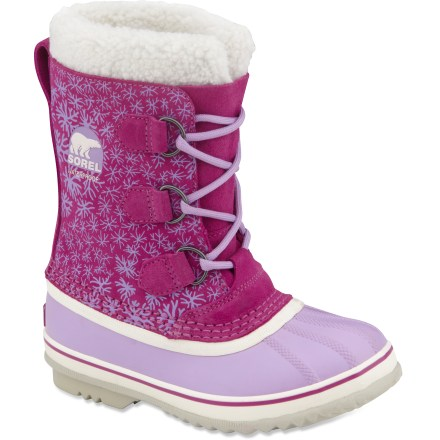 Sorel 1964 Pac Graphic girls' winter boots offer waterproof, insulated performance in a lightweight, stylish design for apres-anything comfort and warmth. Polyurethane coated leather uppers feature a printed design for a bit of stylish flair; molded rubber shells keep snow and water out. Fleece cuffs help keep snow out of boots and add warmth and style. Removable 9mm liner boots are made of recycled felt to offer insulated warmth down to -40degF; liners can be aired out or washed to keep them fresh. Extra insulation from 2.5mm bonded felt frost plug insoles keeps feet from losing heat to the ground. Rubber midsoles supply cushioning underfoot. Sorel 1964 Pac Graphic girls' winter boots sport rubber outsoles with herringbone tread pattern for improved traction in mixed conditions. - $39.83