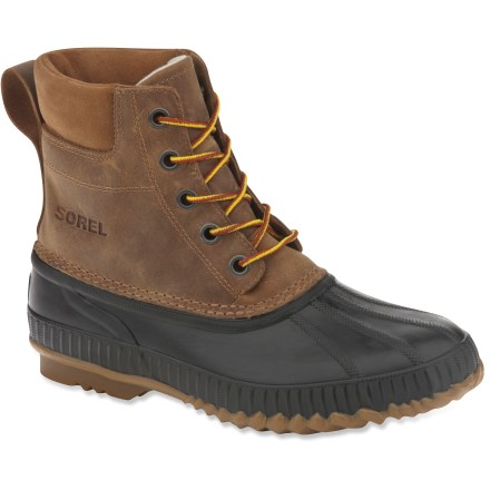 The Sorel Cheyanne Lace Full Grain men's boots boast waterproof protection and a touch of insulation for cold-weather comfort when tromping to the market or the shed. - $135.00