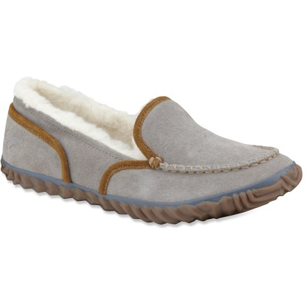 Entertainment The Sorel Tremblant Moc slippers treat your feet to soft, comfortable warmth with a versatile outsole for indoor and light outdoor wear. Suede leather uppers look great and are soft to the touch. Wool/acrylic blend linings insulate feet and wick moisture away for excellent, cozy comfort. Removable, polyester fleece-topped EVA insoles act as cushioning midsoles. Rubber outsoles on the Sorel Tremblant Moc slippers are suited to light outdoor wear, such as trips to the mailbox or wood pile. - $58.93