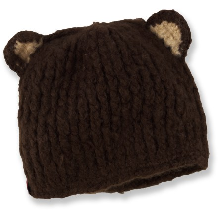"Hunting While the Spacecraft Buddha Bear hat may not improve your child's listening abilities, its crowning ""ears"" are sure to delight young animal lovers this winter. Soft acrylic provides the warmth of wool without the itch, and it dries quickly. - $9.83"