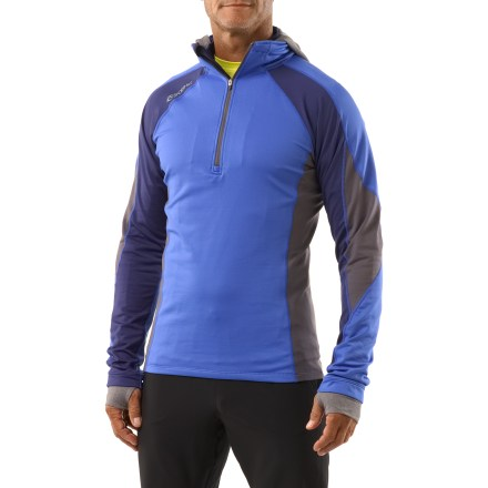 Ski This SportHill IceCap Hidden Hoodie features a hide-away hood for added warmth during fast-paced, cold-weather activities, and offers plenty of performance features to keep you going strong. 4-way stretch polyester/spandex fabric offers wind-blocking, fast-wicking, quick-drying performance along with a soft, comfortable hand for active use in cooler temps. Hood is made of lightweight, stretchy material that excels at moving moisture away from the body; hood can be tucked away inside collar pocket when not needed. Tall collar features an adjustable stretch drawcord, letting you cinch it down and seal out the elements. 12 in. deep zipper with internal windflap and zipper garage lets you easily regulate ventilation. Stash on-the-go essentials such as energy foods or ID and keys in the discreet, zippered back pocket. Extendable cuff gussets let you cover wrists and hands for warmth; thumbholes keep cuffs in place. Flatlock stitching eliminates abrasion, increases comfort and enhances fit by reducing bulky seams. SportHill IceCap Hidden Hoodie has a shaped, formfitting cut; hem hits at high-hip. - $72.93