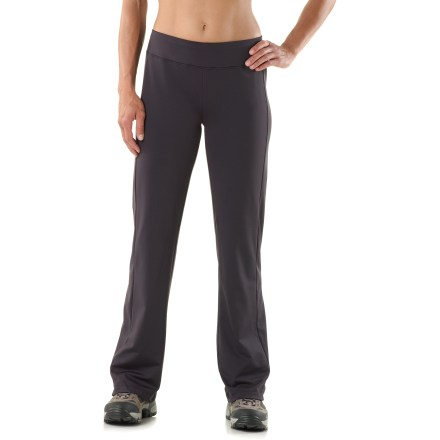Ski The women's SportHill VersaPro pants deliver performance-ready comfort in a straight-legged, semifitted cut for all-around comfort during cool-weather workouts and activities. 4-way stretch polyester/spandex fabric offers wind-blocking (up to 25 mph), fast-wicking performance and a soft, comfortable hand for active use in cooler temps. Wide, flat waistband features a small stash pocket built into the waistband, discreetly securing a key or ID when you're on the go. Reflective logo on back of waistband increases your visibility in low light. The SportHill VersaPro women's pants offer semifitted shaping with straight legs; waistband sits about 1.5 - 2 in. below the natural waistline. - $62.93