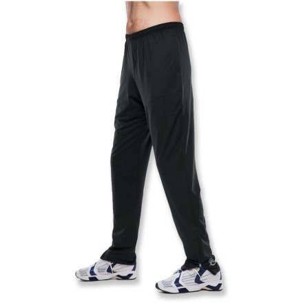 The SportHill Infuzion II pants are a great choice for high-octane workouts. Polyester/spandex blend fabric balances warmth, breathability and stretch; pants are moisture wicking and quick drying. Elastic waistband with drawstring delivers a comfortable fit; flat-lock seams prevent chafing. 7 in. ankle zippers allow easy on/off over your shoes. 2 side-seam zippered pockets hold essentials. Roomy, relaxed fit with slightly tapered legs. Special buy. - $29.93