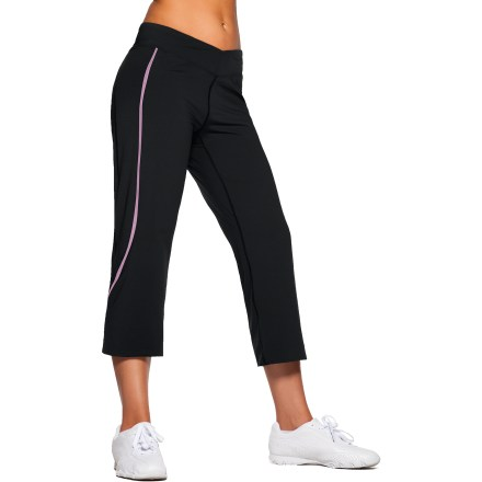 Fitness The SportHill Pinyon Capri pants are a great choice for active pursuits. Nylon/spandex blend fabric moves with you and dries quickly-perfect for workouts. Capri pants feature a mid-rise cut, shaped fit and slightly flared leg. Built-in hidden zippered pocket on back. Flatlock seams offer flexibility and comfort. Reflective logo rounds out features. Special buy. - $34.83