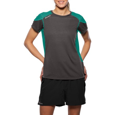 Camp and Hike The SportHill Silver Falls T-shirt is great for warm-weather workouts. Polyester fabric features polyester/spandex blend panels that move with you. Form-fitting shape hits at the hips. No shoulder seams makes the shirt ideal for backpacking. Flatlock seams maximize motion and minimize abrasion. Reflective logos. Special buy. - $17.73
