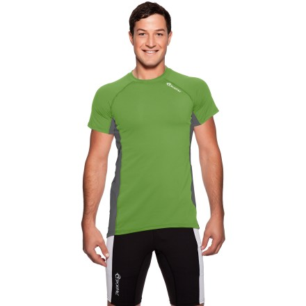 Fitness The SportHill Ridge T-shirt is built for athletes that enjoy an intense workout. Moisture-wicking polyester fabric features polyester/spandex blend panels to allow airflow; shirt also dries quickly to keep you comfortable. Raglan sleeves allow unhindered shoulder movement. Flatlock seams offer flexibility and comfort. Special buy. - $17.73