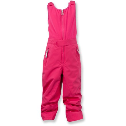 Ski The Spyder Bitsy Tart pants let your little snow hound take on the elements with confidence and comfort. Attached stretch fleece vest with adjustable shoulder straps provides comfort and protection. Cuff hems can be lengthened 2 in. to keep up with your child's growth. Polyester shell with Xt.L(TM) laminate offers waterproof, breathable protection against harsh weather; critical seams are taped. 80g ThermaWeb(TM) polyester insulation retains heat without bulkiness; nylon taffeta lining eases layering, wicks moistures and dries quickly. Waist straps with snap closures dial in the fit; full-length side zippers enhance ventilation and ease dressing. Internal snow cuff gaiters with gripper elastic seal around boots for protection from powder and cold; cuff anchors hold pant legs in place. The Spyder Bitsy Tart pants feature zippered handwarmer pockets that shelter chilled fingers. - $54.83