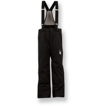 Ski The insulated Spyder Force pants for boys excel when they are ready to take on the steep and deep with confidence, comfort and style. Tough polyester shell with Xt.L(TM) laminate offers waterproof, breathable protection against harsh weather; critical seams are taped. 60g ThermaWeb(TM) polyester insulation retains heat without bulk; smooth nylon taffeta lining eases layering, wicks moistures and dries quickly. Removable, adjustable suspenders and internal waist straps dial in the fit; full-length side zippers enhance ventilation. Zippered handwarmer pockets shelter chilled digits. Elastic cuff gaiters seal around boots for protection from powder and cold; cuff anchors hold pant legs in place. Abrasion-resistant, waterproof nylon scuff guards boost durability in lower pant legs. The Spyder Force pants feature Spyder logos and zipper pulls. - $100.93