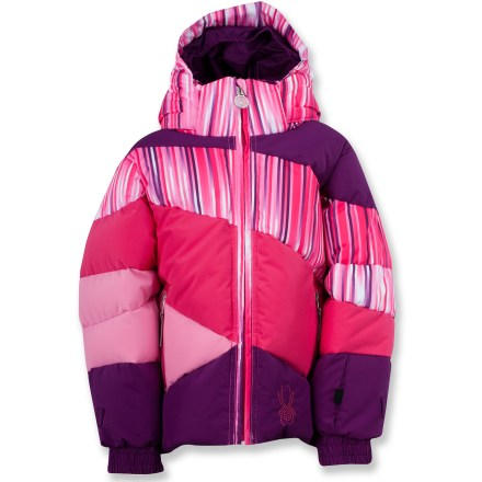 Ski With the colorful and warm Spyder Bitsy Duffy Puff jacket, you'll easily spot your little princess in the snow and she'll stay snug and warm. Durable polyester fabric with XT.L(TM) laminate offers waterproof, breathable protection against harsh weather; critical seams are taped. Lofty synthetic down insulation provides all-day warmth and comfort; nylon taffeta lining slides easily over layers. Pocket-access drawcord hem cinches to keep the warmth in and the snow and cold out. The Spyder Bitsy Duffy Puff jacket features handwarmer pockets, a removable hood, elasticized cuffs, glove attachments on sleeves and multiple internal pockets. - $65.83