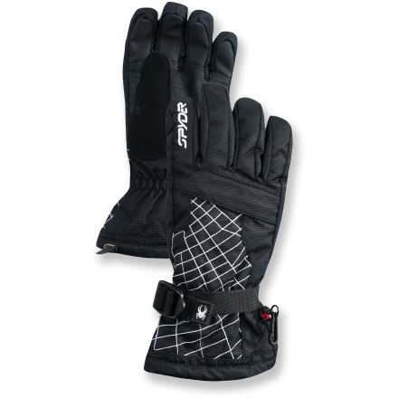 Ski The Spyder Over Web ski gloves for boys help keep young hands warm and dry with reliable waterproof and breathable protection. Nylon shells with waterproof, breathable inserts offer reliable protection against harsh weather. 200g polyester insulation retains heat without bulkiness and provides all-day warmth and comfort; moisture-wicking, micro-brushed tricot linings keep hands dry and comfortable. Thermoplastic polyurethane palms increase glove durability and improve grip. Zippered pockets are perfect for heat packs (sold separately). Precurved fit enhances circulation and increases dexterity; stretchy paneling increases range of motion. The Spyder Over Web ski gloves feature a soft thumb panel that catches nose drips, and clips that keep gloves together when not in use. - $20.83
