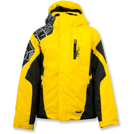 Snowboard The Spyder Challenger insulated jacket features waterproof, breathable protection so your child can defy winter weather and stay out longer. - $165.00