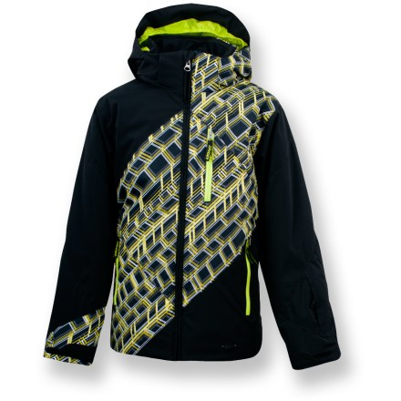 Snowboard The Spyder Enforcer insulated jacket defies winter weather with waterproof, breathable protection that lets your child stay outside longer and have more fun. Tough polyester shell and Xt.L(TM) laminate offer waterproof, breathable protection against harsh weather; critical seams are taped. 140g ThermaWeb(TM) polyester insulation retains heat, providing all-day warmth and comfort. Nylon taffeta lining eases layering, wicks moisture and dries quickly. The Spyder Enforcer insulated jacket features a removable hood that provides on-demand protection from wind and snow; soft, brushed microfiber-lined collar prevents chafing. Chest pocket contains goggles lens wipe; zippered handwarmer pockets keep digits warm; mesh interior goggles pocket helps prevent lens scratches. Elastic powder skirt creates an extra seal of protection against wayward powder; bungee hem drawcord cinches waist to retain warmth. - $79.83