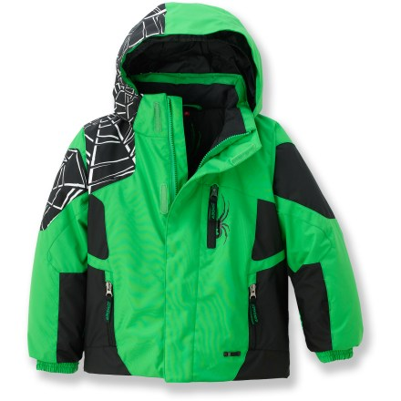 Ski The toddlers' Spyder Mini Challenger jacket offers little snow fans a way to stand up to the winter with rugged weather resistance and convenient features. - $93.93