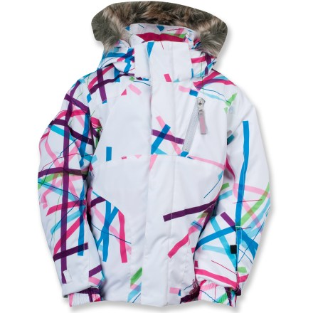 "Ski The toddlers' Spyder Bitsy Lola jacket offers waterproof and breathable comfort along with fun eye-popping colors and a design that enhances mobility for a full range of snow play. Polyester shell seals out moisture with Xt.L(TM) waterproof breathable laminate, Durable Water Repellent and taped critical seams. 140g ThermaWeb(TM) polyester insulation cuddles your wee one in reliable warmth; smooth nylon taffeta lining slides easily over other layers of clothing. Removable hood features detachable faux fur trim; collar is lined with soft, brushed microfiber for sumptuous comfort. ""Small to Grow"" system lets you extend the sleeves length by 1.5 in. to keep up with your kid's growth. Drawcord hem with elastic sides can be adjusted inside the hand pockets; elasticized cuffs with glove attachments help seal out powdery snow. The Spyder Bitsy Lola jacket features zippered hand pockets, a zippered chest pocket and multiple internal pockets. - $74.83"