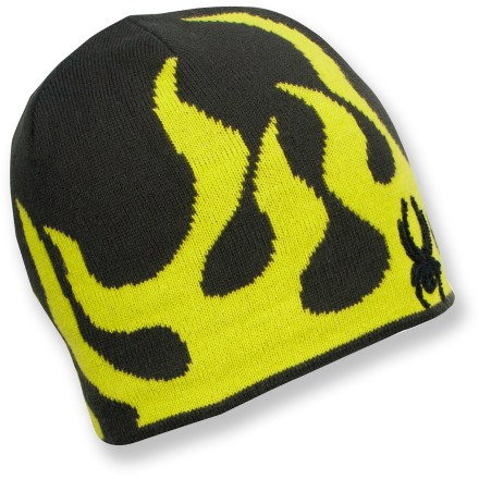 Entertainment The boys' Spyder Fire hat will help keep young powderhounds warm and happy while they're playing in the snow or hanging out on a cold winter day. Soft, thick acrylic fabric provides warmth and easy care. Itch-free microfleece lining wicks away moisture and enhances comfort. - $16.93