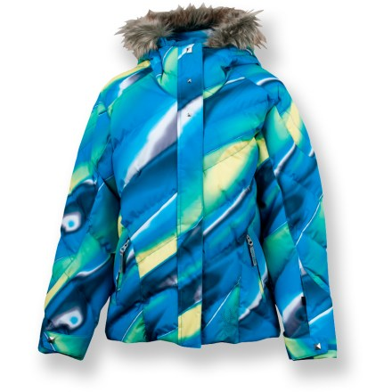 Snowboard The Spyder Hottie insulated jacket cuddles girls in quilted, puffy goodness that keeps them feeling warm and looking great on the slopes or at the school bus stop. - $79.83
