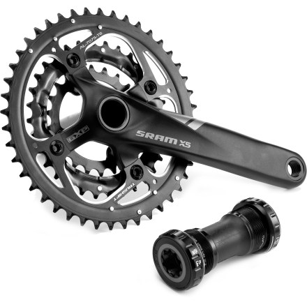 MTB SRAM X5 GXP 9-speed triple crankset offers plenty of high-end performance with excellent value; plus, it comes with a GXP bottom bracket for smooth spinning on the trails. - $99.93