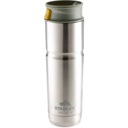 Camp and Hike The Stanley Nineteen13(TM) One Handed vacuum mug keeps 16 fl. oz. of your favorite drink hot and steamy for hours on end. Double-wall, vacuum-insulated stainless-steel body keeps drinks hot for up to 6 hrs.; can also be used to keep iced drinks cold for up to 24 hrs. Leakproof lid can be opened and closed with 1 hand for convenience while you're driving, riding a bike or walking around. Includes a removable guard that keeps the drinking spout free of dirt. Stanley Nineteen13 One Handed vacuum mug fits in most car cup holders and bike cages. - $19.93