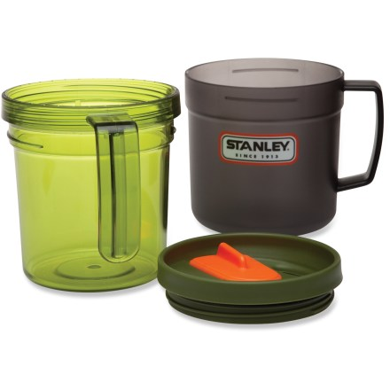 Camp and Hike The Stanley Interlocking mug and bowl combo snaps together to save space in your backpack without sacrificing volume or convenience. Outer mug separates from the inner bowl with an easy twist; leave together for use as a double-wall mug. Eastman Tritan(TM) copolyester plastic is strong, durable and 100% BPA free. Threaded lid with rubber gasket helps prevent spills; orange tab on top slides left or right to reveal drink opening. Volume measurement markings on the outer mug help you follow a recipe. The Stanley Interlocking mug and bowl is dishwasher safe. - $15.00