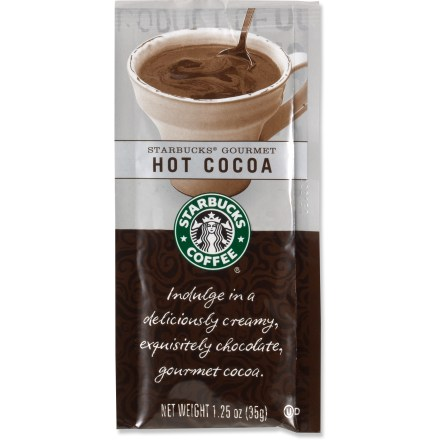 Camp and Hike Indulge in a delicious cup of Starbucks Gourmet hot cocoa the next time you're camped in the woods or kicking back by the fireplace at home. - $1.00