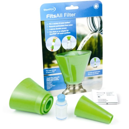 Camp and Hike The cone-shaped SteriPEN FitsAll filter can be used to clear particulates and debris from water prior to treating it with your SteriPEN UV purifier (sold separately). - $19.95