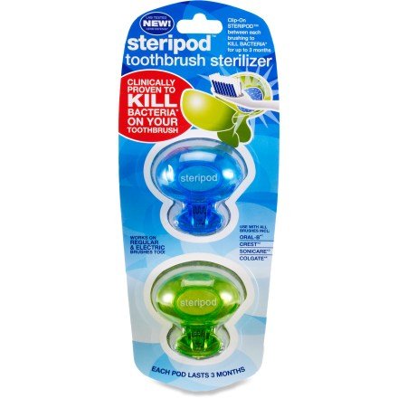 Entertainment Keep your toothbrush (sold separately) germ free with this package of 2 Steripod Toothbrush sanitizers. - $5.50