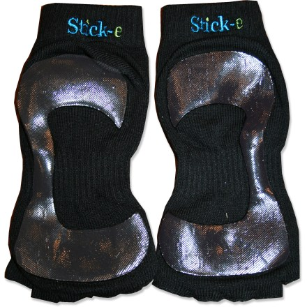 Fitness The nonslip Stick-e yoga socks are designed to have a barefoot feeling but with better grip and greater comfort. Blend of rayon, polyester and spandex is comfortable next to skin; fabric absorbs sweat to keep your feet feeling dry. Socks keep your toes free and have sticky nonslip soles for gripping yoga mats and floors. Socks protect your feet from shared yoga mats and equipment. Great for yoga, dance, Pilates, karate and other forms of exercise. Stick-e yoga socks come in a reusable mesh bag. - $19.95