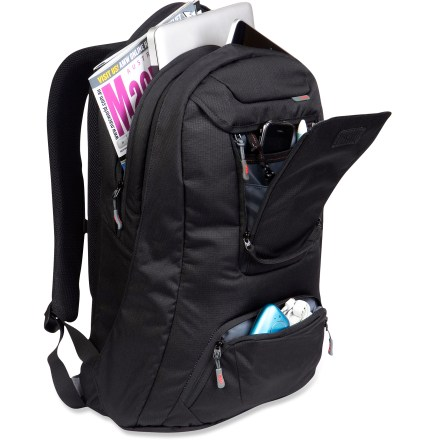 Entertainment The STM Jet Daypack comfortably carries and protects all your digital gear. Its sleek, organized design has room for your laptop, iPad(R) and mobile phone. Main pockets provide space for books, folders and paperwork; each pocket accommodates a different size laptop. Organizational panel pocket has an integrated tablet/e-reader pocket; accommodates both the iPad(R) 2 and the iPad(R) 3. High-density-foam padded laptop section is lined with softly brushed fabric; fits most 15 in. laptops. Quick-access organizer pocket for passport, ticket, keys and pens. Includes a protective neoprene pocket for sunglasses. Additional front pocket holds drives, umbrella and other odds and ends. Sternum strap and tuck-away waist straps stabilize the load; padded backpack straps ensure comfortable carrying. STM Jet Daypack has an integrated phone pouch on right shoulder strap. - $59.93