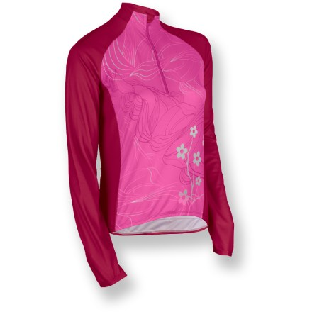 Fitness The Sugoi Sonic long-sleeve women's bike jersey keeps you comfortable throughout the ride. FinoTech polyester fabric features smooth texture, enhanced stretch and swift moisture dispersal-great for high-energy activities. Sublimated graphics are brilliantly bold yet do not inhibit breathability. Generous hidden front zipper lets you control ventilation. 3 elasticized rear pockets expand easily to hold riding necessities. Finish details include a contoured comfort collar. Sugoi Sonic long-sleeve women's bike jersey has a semifitted design that prevents flapping of fabric and enhances performance. Closeout. - $29.73