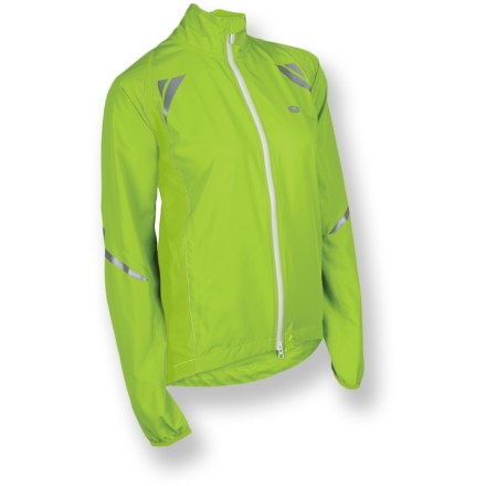 Fitness The Sugoi Zap women's bike jacket is a lightweight shell that keeps you protected from the cold, with 360deg reflectivity for dawn and dusk workouts. Soft polyester wicks moisture and dries quickly to keep you comfortable. Full-length front zipper features a chin guard to protect delicate skin; soft microfleece collar. Elastic-bound cuffs keep sleeves down and the cold out. Dual drawcord hem keeps Sugoi Zap jacket in place. 360deg reflective hits boost your roadside visibility. 2 front zip pockets hold small items. Closeout. - $39.83